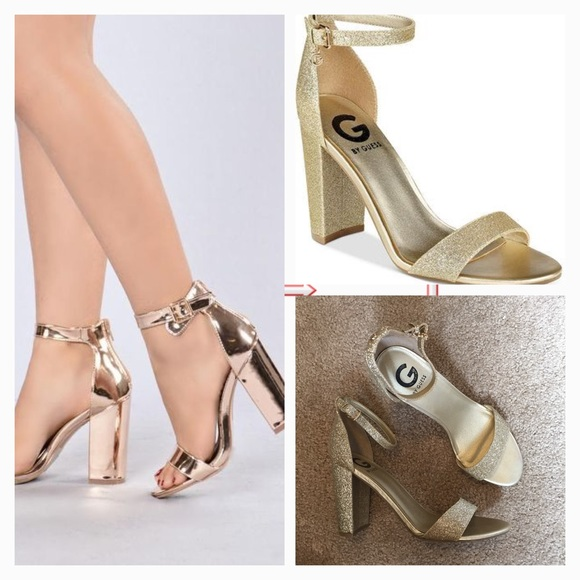 5280e663cc8 G by Guess Shoes - New G by Guess Shantel Gold Glitter Heels